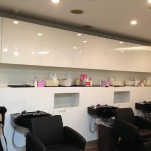 札幌美容室シャンプー室家具製作